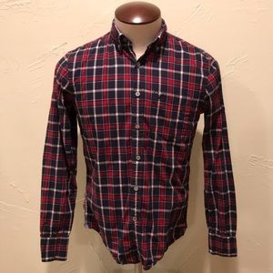 American Eagle Small Blue & Red Plaid Button Shirt